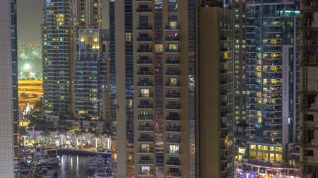 építészeti : Water canal on Dubai Marina skyline at night timelapse.