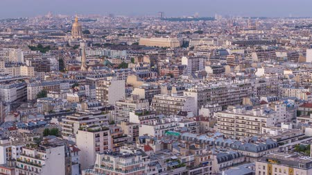 parisli : Aerial panorama above houses rooftops in a Paris day to night timelapse Stok Video