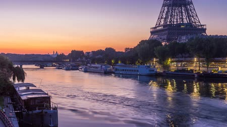bir hakeim : Eiffel Tower and the Seine river night to day timelapse, Paris, France Stock Footage