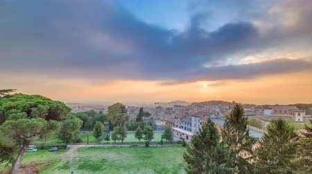 roma : Old houses and trees during sunset in beautiful town of Albano Laziale timelapse, Italy Stock Footage