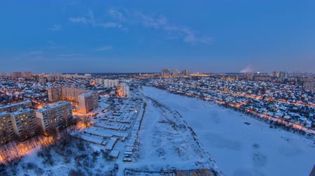 gorky : Kharkiv city from above day to night timelapse at winter. Ukraine.
