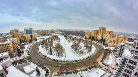 manor : Kharkiv city from above evening timelapse. Ukraine.