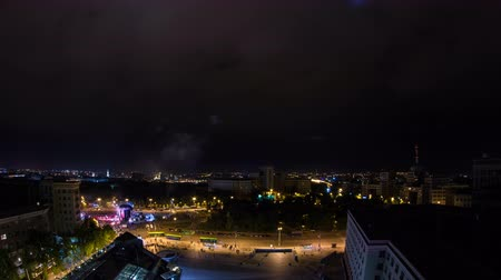 エリア : Kharkiv city from above night timelapse. Ukraine. 動画素材