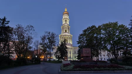 assumption : The bell tower of the Assumption Cathedral Uspenskiy Sobor day to night timelapse hyperlapse in Kharkiv, Ukraine