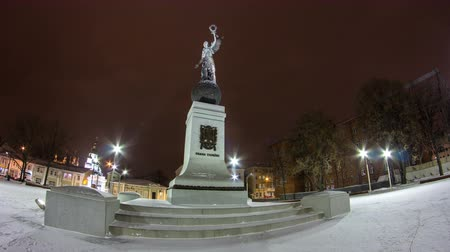 záhyby : Monument of Independence winter night timelapse hyperlapse. Kharkiv, Ukraine