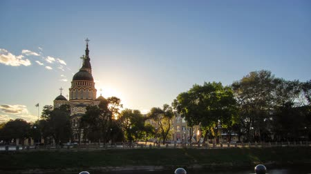annunciation : The Annunciation Cathedral timelapse at sunset, Kharkov, Ukraine.