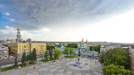 mosaico : Aerial view of the Square of Constitution timelapse in the city center Kharkov.