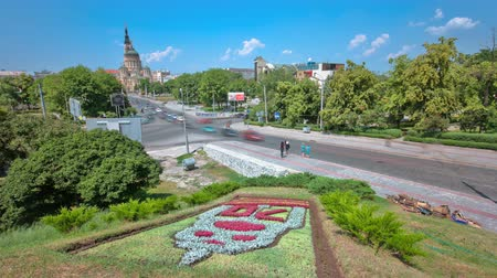 annunciation : The Annunciation Cathedral timelapse with flowerbed, Kharkov, Ukraine.