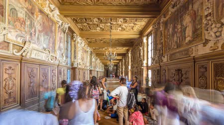monarchy : Interiors and architectural details of the Chateau de Fontainebleau timelapse hyperlapse in Fontainebleau, France