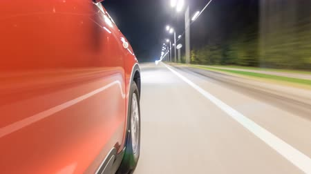 driveway : Drivelapse from Side of Car moving on a night highway timelapse hyperlapse Stock Footage