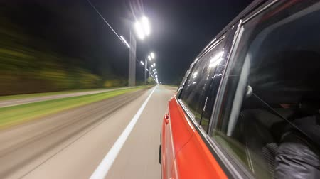 akşam : Drivelapse from Side of Car moving on a night highway timelapse hyperlapse Stok Video