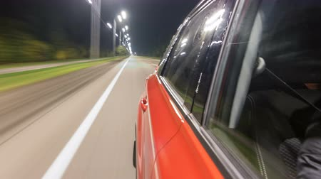 kék háttér : Drivelapse from Side of Car moving on a night highway timelapse hyperlapse Stock mozgókép