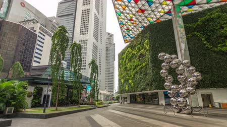 singapour : Tours de gratte-ciel à Raffles Place à Singapore Financial Center hyperlapse timelapse