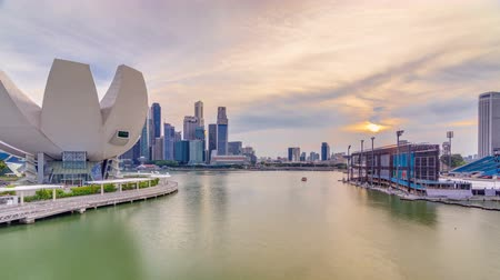 ave : Futuristic architecture flower shape design of the Art Science museum at the foreground timelapse and skyscrapers skyline city of Singapore. Stock Footage