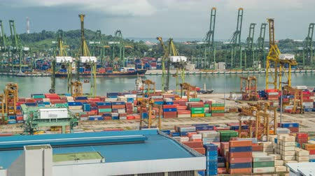 tersane : Commercial port of Singapore timelapse. Bird eye panoramic view of busiest Asian cargo port Stok Video