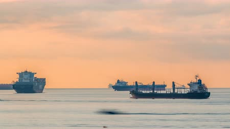 docking : Early morning scene of cargo ships and tankers anchored off of Singapores coast timelapse