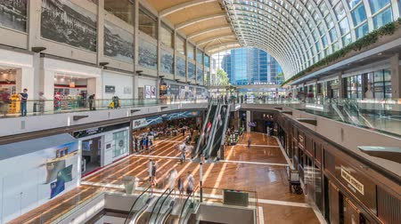 largest city : Interior of The Shoppes at Marina Bay Sands timelapse. Stock Footage