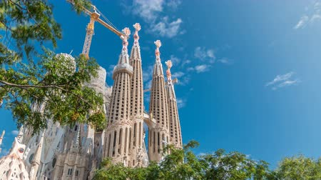 modernist : Sagrada Familia, a large Roman Catholic church in Barcelona, Spain timelapse