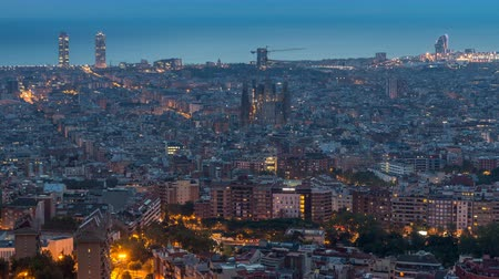 бункер : Panorama of Barcelona night to day timelapse, Spain, viewed from the Bunkers of Carmel Стоковые видеозаписи