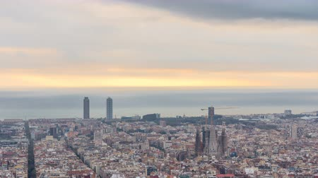 genel bakış : Panorama of Barcelona timelapse, Spain, viewed from the Bunkers of Carmel Stok Video