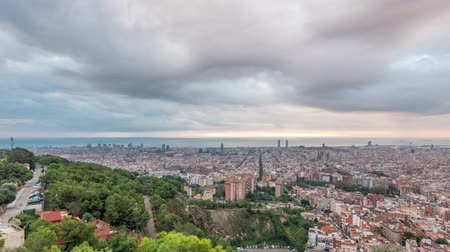 бункер : Panorama of Barcelona timelapse, Spain, viewed from the Bunkers of Carmel Стоковые видеозаписи