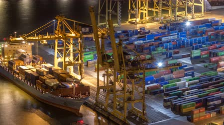 tersane : Seaport and loading docks at the port with cranes and multi-colored cargo containers night timelapse Stok Video