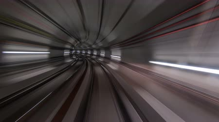 train tunnel : Moving in the subway tunnel with light trails inside timelapse