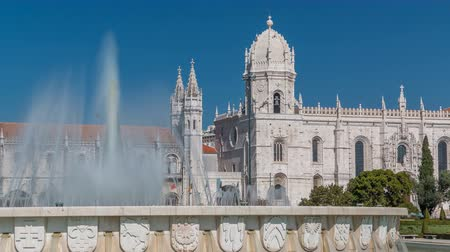 convento : Jeronimos monastery and fountain seen from the Imperio garden timelapse in Lisbon, Portugal.