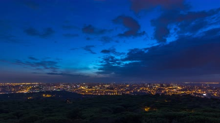 lizbona : Panoramic View over Lisbon and Almada from a viewpoint in Monsanto night to day timelapse. Wideo