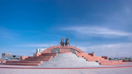 heroes square : A monument to the Kazakh heroes, Makhambet Utemisov and Isat in city Atyrau timelapse hyperlapse.