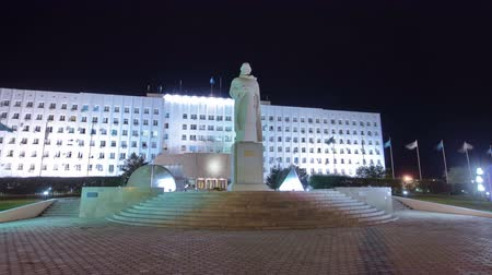 ural : A monument to the Sultan Beibars in city Atyrau timelapse hyperlapse.