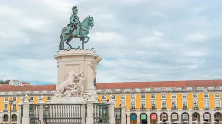 comercio : Bronze statue of King Jose I at Commerce square timelapse in Lisbon, Portugal. Stock Footage