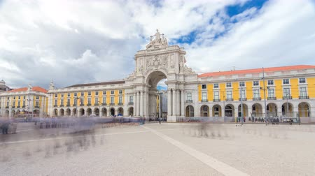 comercio : Triumphal arch at Rua Augusta at Commerce square timelapse hyperlapse in Lisbon, Portugal.