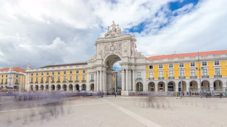 rytíř : Triumphal arch at Rua Augusta at Commerce square timelapse hyperlapse in Lisbon, Portugal.
