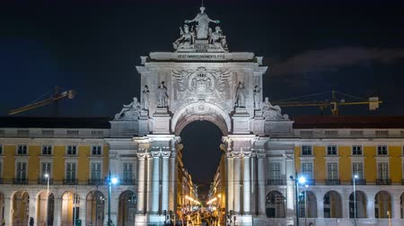 terreiro : Triumphal arch at Rua Augusta at Commerce square night timelapse in Lisbon, Portugal.