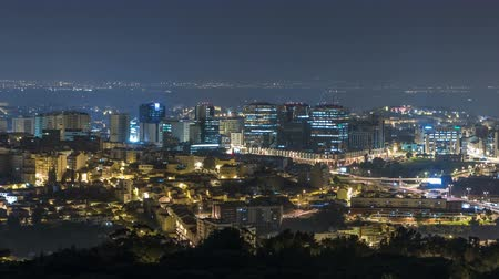 lizbona : Panoramic View over Lisbon and Almada from a viewpoint in Monsanto timelapse.