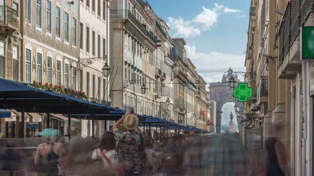 baixa : Augusta Street seen with the Triumphal Arch timelapse