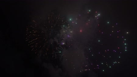 Holiday fireworks blowing in night sky