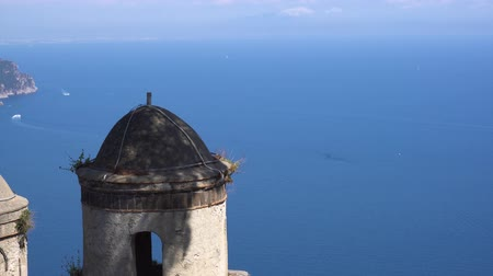 amalfitana : Belltower with the sea in Ravello village, details of Amalfi coast of Italy Stock Footage