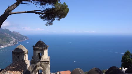 amalfitana : Belltower with the Thyrenian sea in Ravello village, details of Amalfi coast of Italy Stock Footage