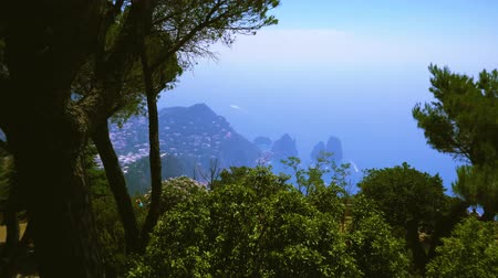 amalfi coast : Famous Faraglioni cliffs and beautiful nature of Capri island, Italy Stock Footage