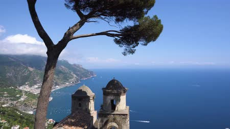 amalfitana : Belltower with the Thyrenian sea in Ravello village, beautiful details of Amalfi coast of Italy