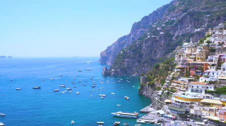 amalfi : Positano coast - famous old italian resort, Italy Stock Footage