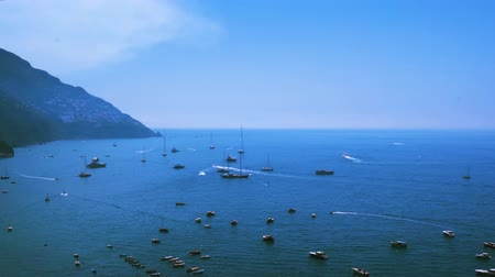 amalfi : Tyrrhenian Sea waters with boats near Positano, Amalfi coast Italy Stock Footage