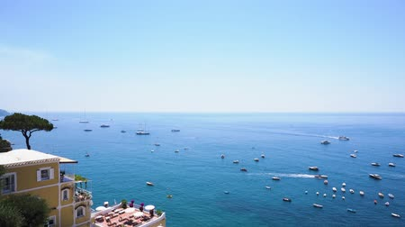 amalfitana : Tyrrhenian Sea water with boats near Positano, Amalfi coast Italy