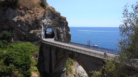 amalfitana : famous picturesque road viaduct over sea of Amalfi coast, Italy