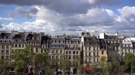 eiffel : Square of Georges Pompidou and cityscape of Paris France