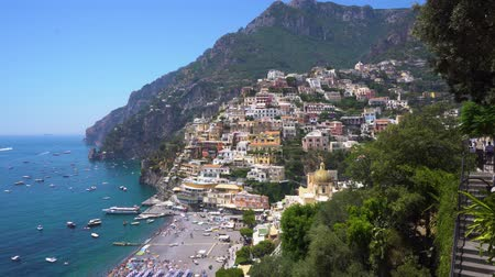 positano : view of Positano town on the rock - famous old italian resort, Italy
