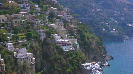 positano : Positano houses on the rock - famous old italian resort at summer day, Italy Stock Footage