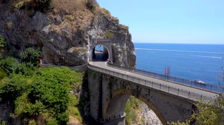 amalfitana : famous picturesque road viaduct over sea water of Amalfi coast, Italy